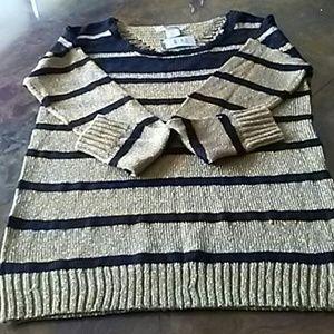 SWEATER Striped sweater M Metallic gold and black